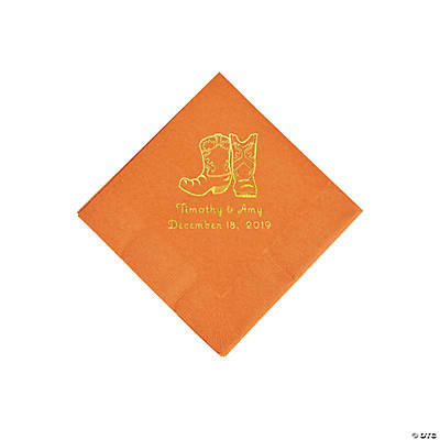 Pumpkin Orange Cowboy Boots Personalized Napkins with Gold Foil - Beverage Image Thumbnail