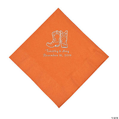 Pumpkin Orange Cowboy Boots Personalized Napkins with Silver Foil - Luncheon Image Thumbnail