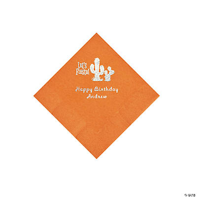Pumpkin Orange Fiesta Personalized Napkins with Silver Foil - Beverage Image Thumbnail