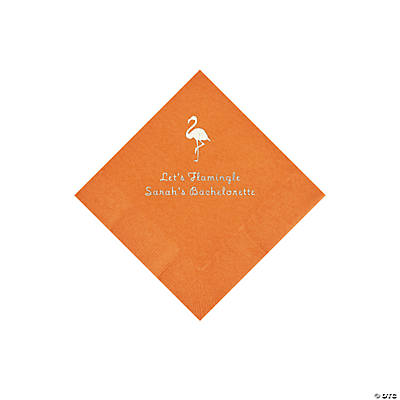 Pumpkin Orange Flamingo Personalized Napkins with Silver Foil - Beverage