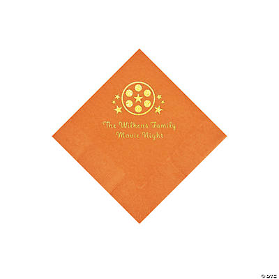 Pumpkin Orange Movie Night Personalized Napkins with Gold Foil – Beverage Image Thumbnail