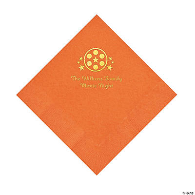 Pumpkin Orange Movie Night Personalized Napkins with Gold Foil – Luncheon Image Thumbnail