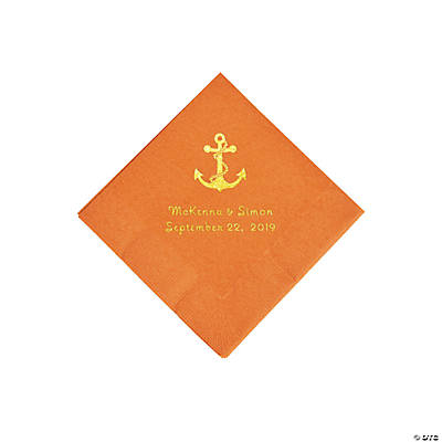 Pumpkin Spice Anchor Personalized Napkins with Gold Foil - Beverage Image Thumbnail
