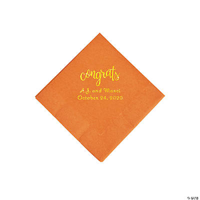 Pumpkin Spice Congrats Personalized Napkins with Gold Foil - Beverage Image Thumbnail