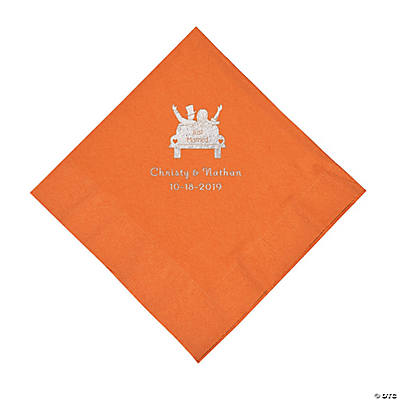 Pumpkin Spice Just Married Car Personalized Napkins with Silver Foil - Luncheon Image Thumbnail