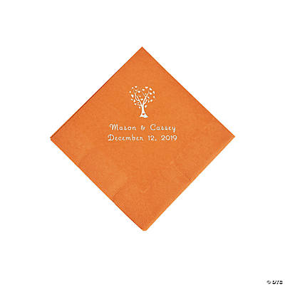 Pumpkin Spice Love Tree Personalized Napkins with Silver Foil - Beverage Image Thumbnail