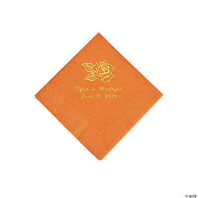 Pumpkin Spice Rose Personalized Napkins with Gold Foil - Beverage Image Thumbnail