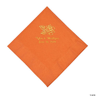 Pumpkin Spice Rose Personalized Napkins with Gold Foil - Luncheon Image Thumbnail