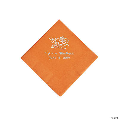 Pumpkin Spice Rose Personalized Napkins with Silver Foil - Beverage Image Thumbnail