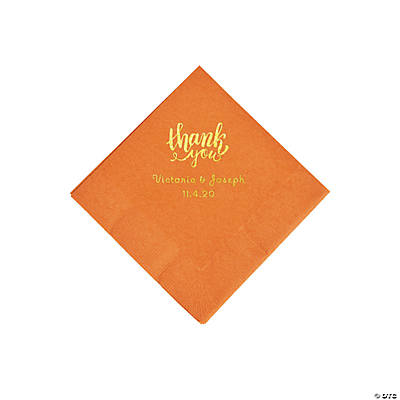 Pumpkin Spice Thank You Personalized Napkins with Gold Foil - Beverage Image Thumbnail