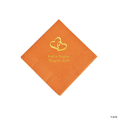 Pumpkin Spice Two Hearts Personalized Napkins with Gold Foil - Beverage Image Thumbnail