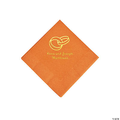 Pumpkin Spice Wedding Ring Personalized Napkins with Gold Foil - Beverage Image Thumbnail