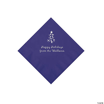 Purple Christmas Tree Personalized Napkins with Silver Foil – Beverage Image Thumbnail