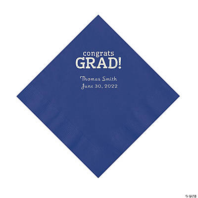 Purple Congrats Grad Personalized Napkins with Silver Foil - Luncheon Image Thumbnail