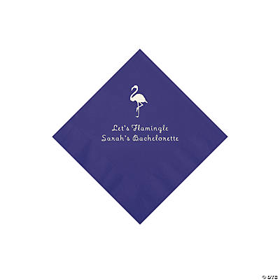 Purple Flamingo Personalized Napkins with Silver Foil - Beverage