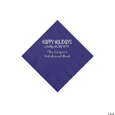 Purple Happy Holidays Personalized Napkins with Silver Foil – Beverage Image Thumbnail
