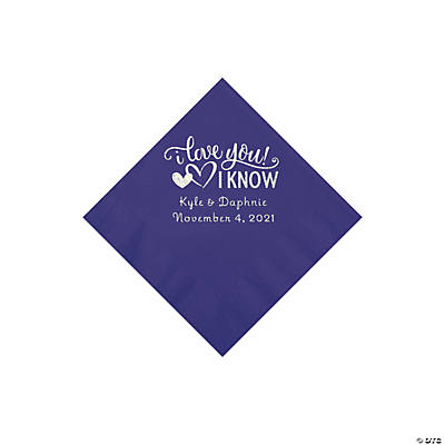 Purple I Love You, I Know Personalized Napkins with Silver Foil - Beverage Image Thumbnail