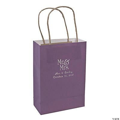 Purple Medium Mr. & Mrs. Personalized Kraft Paper Gift Bags with Silver Foil Image Thumbnail