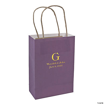 Purple Medium Personalized Monogram Welcome Gift Bags with Gold Foil Image Thumbnail