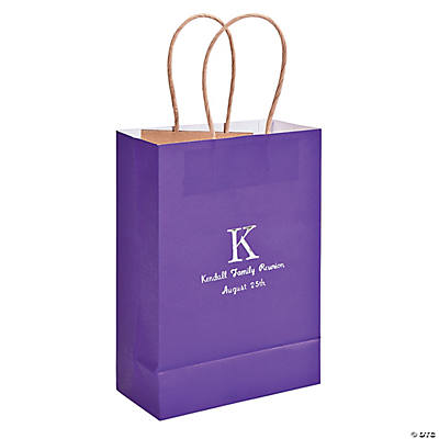 Purple Medium Personalized Monogram Welcome Gift Bags with Silver Foil