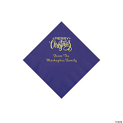 Purple Merry Christmas Personalized Napkins with Gold Foil - Beverage Image Thumbnail