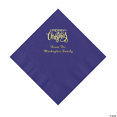 Purple Merry Christmas Personalized Napkins with Gold Foil – Luncheon Image Thumbnail