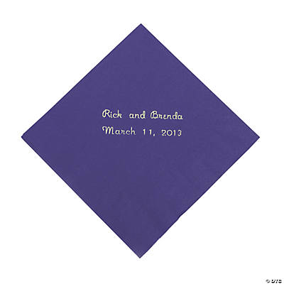Purple Personalized Napkins with Silver Foil - Beverage Image Thumbnail