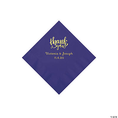 Purple Thank You Personalized Napkins with Gold Foil - Beverage Image Thumbnail
