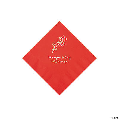 Red Blossom Branch Personalized Napkins with Silver Foil - Beverage Image Thumbnail