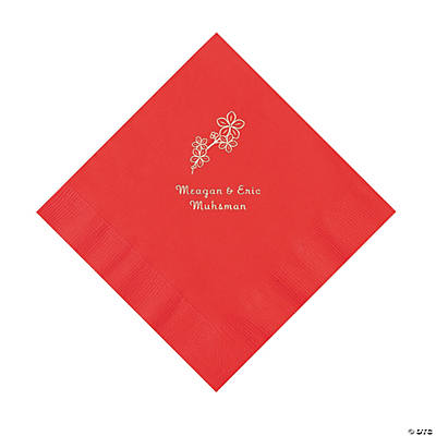 Red Blossom Branch Personalized Napkins with Silver Foil - Luncheon Image Thumbnail
