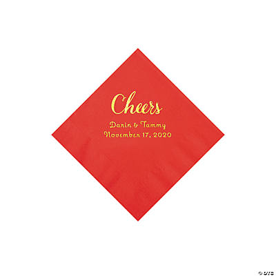 Red Cheers Personalized Napkins with Gold Foil - Beverage Image Thumbnail