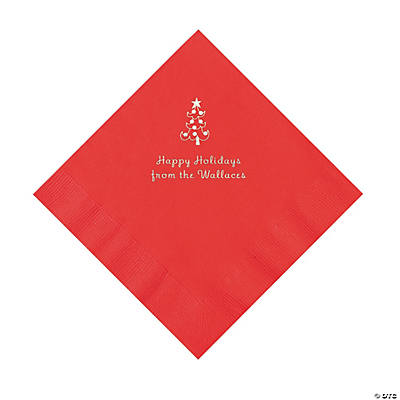 Red Christmas Tree Personalized Napkins with Silver Foil – Luncheon Image Thumbnail