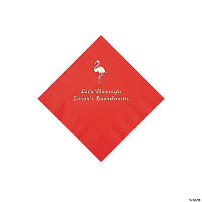 Red Flamingo Personalized Napkins with Silver Foil - Beverage Image Thumbnail