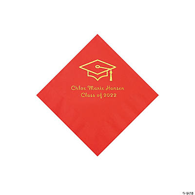 Red Grad Mortarboard Personalized Napkins with Gold Foil – Beverage Image Thumbnail