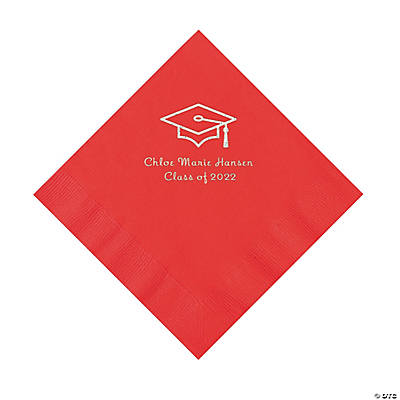 Red Grad Mortarboard Personalized Napkins with Silver Foil – Luncheon Image Thumbnail