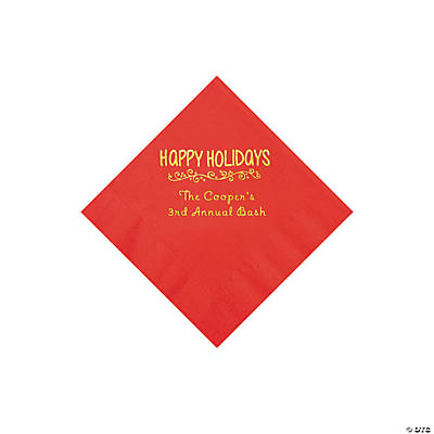 Red Happy Holidays Personalized Napkins with Gold Foil – Beverage Image Thumbnail