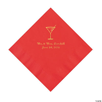 Red Martini Glass Personalized Napkins with Gold Foil - Luncheon Image Thumbnail