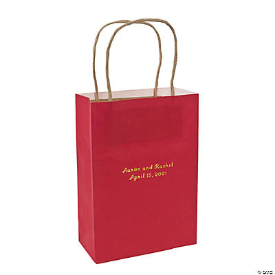 Red Medium Personalized Kraft Paper Gift Bags with Gold Foil Image Thumbnail