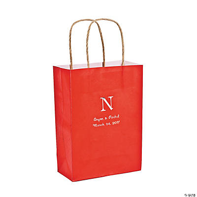 Red Medium Personalized Monogram Welcome Gift Bags with Silver Foil Image Thumbnail