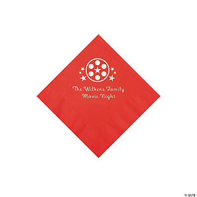 Red Movie Night Personalized Napkins with Silver Foil – Beverage Image Thumbnail