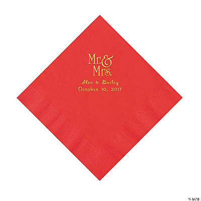 Red Mr. & Mrs. Personalized Napkins with Gold Foil - Luncheon Image Thumbnail