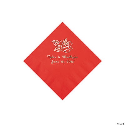 Red Rose Personalized Napkins - Beverage Image Thumbnail