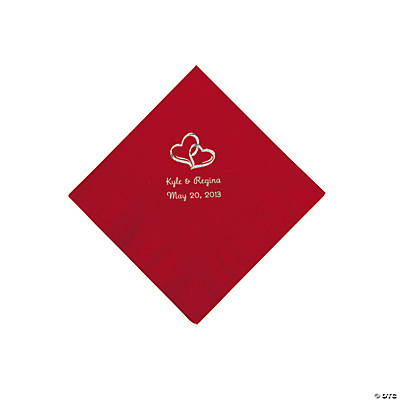 Red Two Hearts Personalized Napkins with Silver Foil - Beverage Image Thumbnail