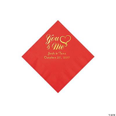 Red You & Me Heart Personalized Napkins with Gold Foil - Beverage