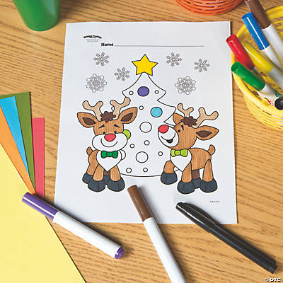 Reindeer with Christmas Tree Free Printable Coloring Page Image Thumbnail