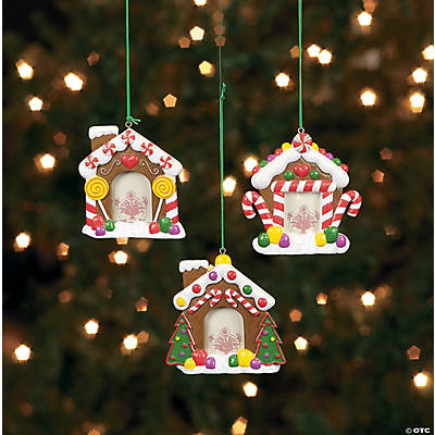 Resin Christmas Ornaments.Resin Gingerbread House Picture Frame Christmas Ornaments