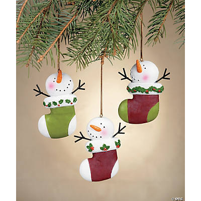 Resin Christmas Ornaments.Resin Snowman Stocking Christmas Ornaments