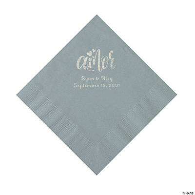 Silver Amor Personalized Napkins with Silver Foil - Luncheon Image Thumbnail