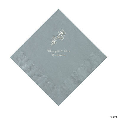 Silver Blossom Branch Personalized Napkins with Silver Foil - Luncheon Image Thumbnail