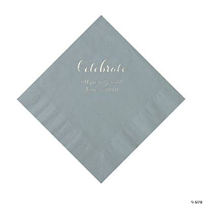 Silver Celebrate Personalized Napkins with Silver Foil - Luncheon Image Thumbnail
